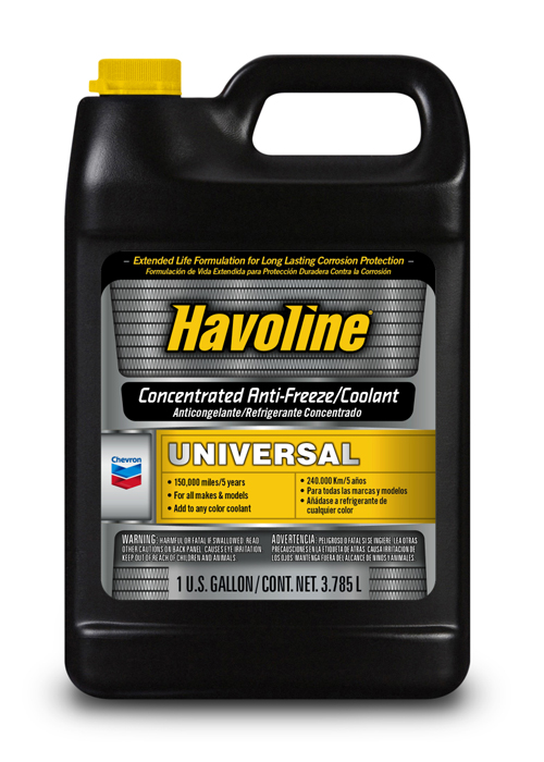 CHEVRON HAVOLINE UNIVERSAL ANTIFREEZE/COOLANT- CONCENTRATE (6 bottles – 1 gal) product photo
