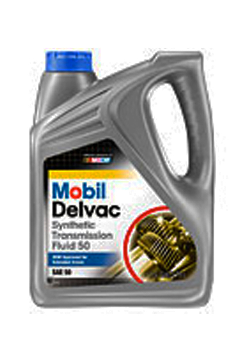 MOBIL DELVAC SYNTHETIC TRANSMISSION FLUID 50 (4 bottles – 1 gal ea) product photo